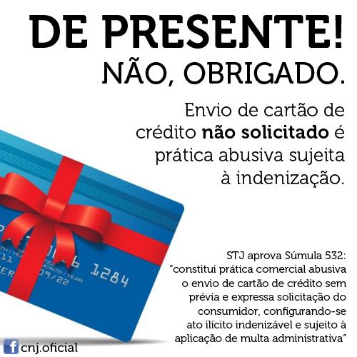 envio cartão de crédito não solicitado